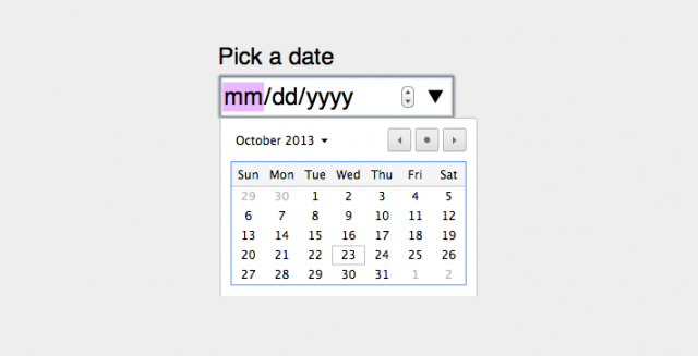Native date widget in Chrome