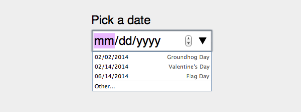 Date picker with datalist and labels.